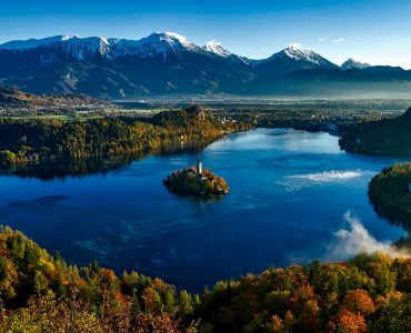 Slovenia Islands situated in between lush green mountains